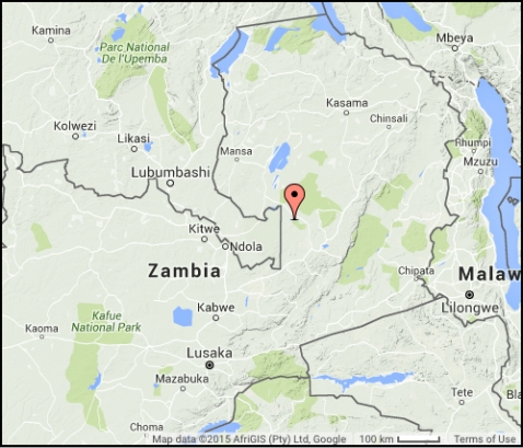 Location of Kasanka National Park, where the Zambia world tour data were recorded