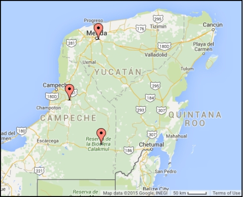 Locations on the Yucatan Peninsula, Mexico, where Bat Detective audio data were collected
